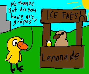 Will you buy lemonade from this wood-duck?