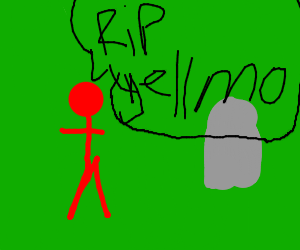 red man by a grave that says rip yellmo
