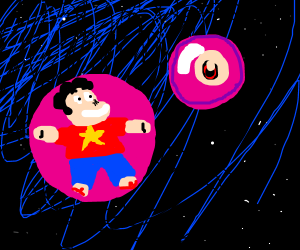Steven Universe and Eyeball in space bubble