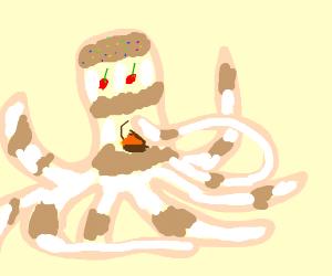 cake octopus eating cake