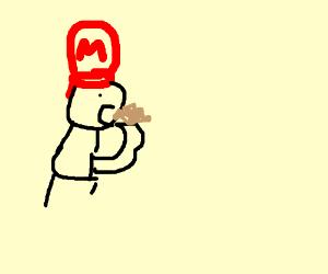 really badly drawn mario eating sandslash