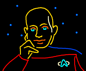 Picard made with neon lights