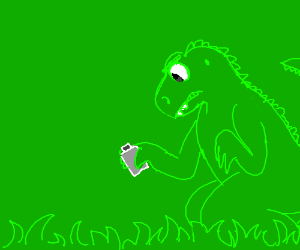 Dinosaur grabbing flask in the grass