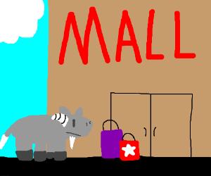 A goat shopping