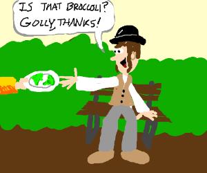 Rich dandy is presented broccoli