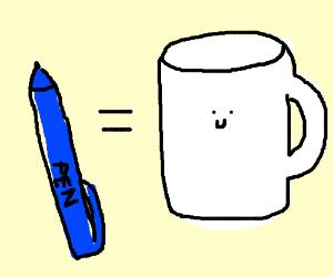 Pen in a smiling mug