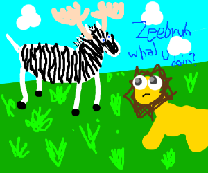 Zebra has antlers. Lion asks what's it doing