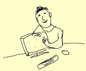 A guy petting his computer