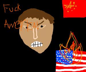 chinaman rages at american flag