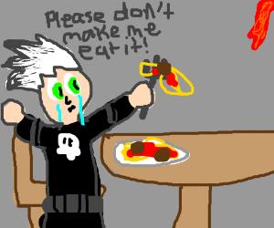 Danny Phantom eats spaghetti and cries