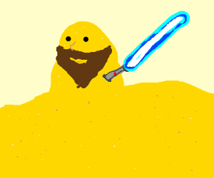 sand person w/ light saber and beard