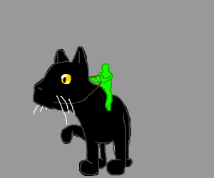 green person riding a giant cat