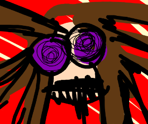 Brunette with purple eyes