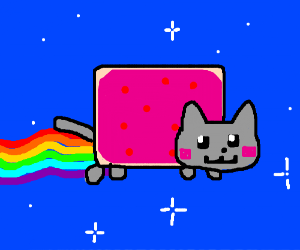 Nyan cat, but with a blue background.