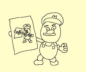 creepy Mario painting inception