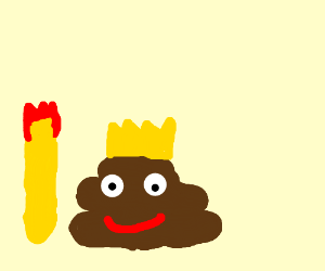 A piece of poo gains the crown and the staff.