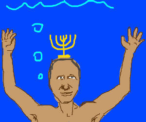 Obama swimming in an ocean with a menorah on head