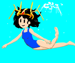 a girl with an odd headress goes for a swim