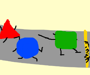 the race between a circle sqare& triangle
