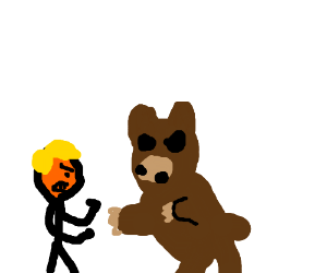 a small man with yellow hair fights a bear