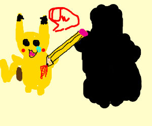 Shadowy figure stabs Pikachu with Pencil