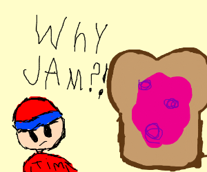 A piece of extremely displeased toast with jam