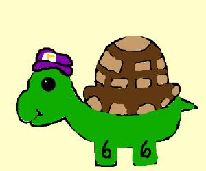 A Turtle Wearing Wario S Bicycle Helmet Drawing By Sam Kun