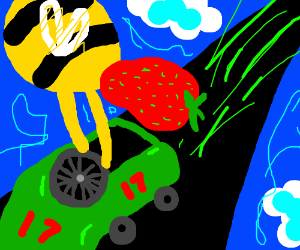 bee with strawberry in head driving car