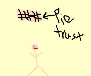 Plum pie trust-falls into a man's arms