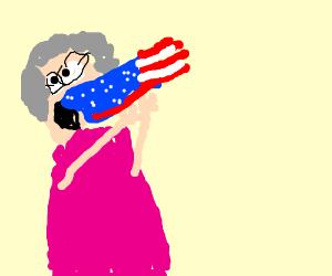 A grandmother eating the flag of USA