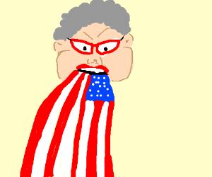 Grandma spewing the american flag