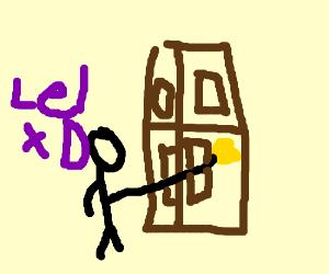 Holding the door knob
