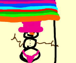 Snowman with pride flag