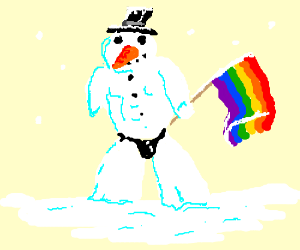 Gay Snowman in a thong