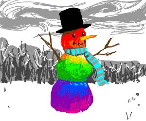 a multicouloured snowman