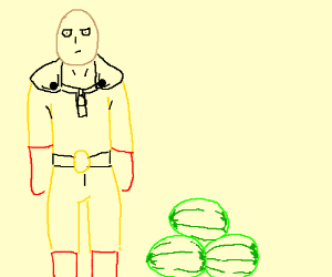 one punch man with three watermelons