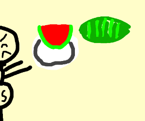Frustrated super hero with watermelons