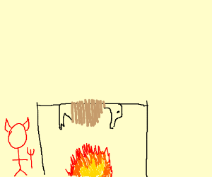 Devil roasts Donald Duck