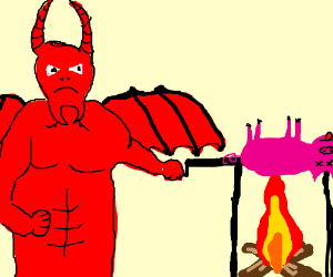 Demon cooking an animal over fire