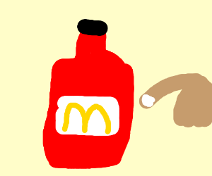 Finger pointing on ketchup