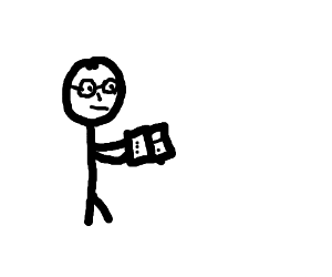 stick figure with glasses reading