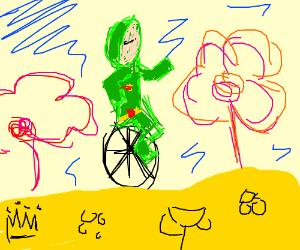 Idubbbz on a one wheeled bike in wonderland
