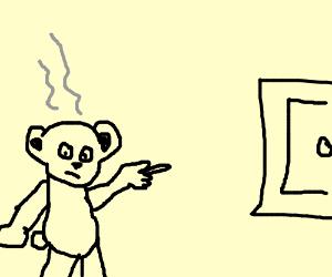 smoky bear points at door