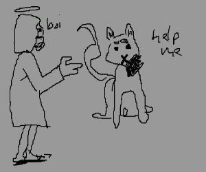 boi jesus next to cat with one sided beard