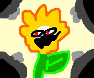 Flowey stares red-eyed
