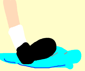 stepping a puddle wih socks
