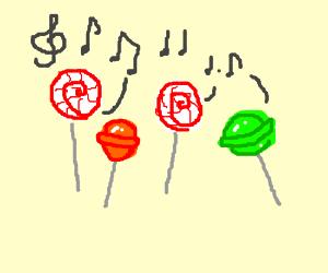 Singing lolli pops