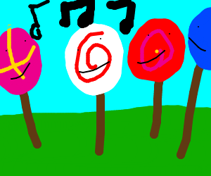 Lots of different lollipops are singing