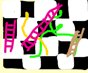 Snakes and Ladders on a Checker Board