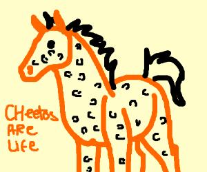 The Cheetos Cheetah but as a horse instead